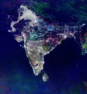 India Nighttime Lights - Colored